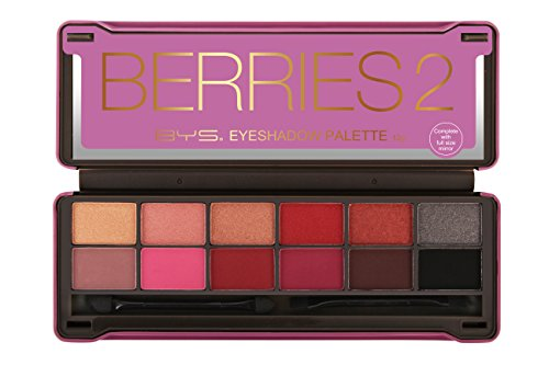 BYS Berries 2 Eyeshadow Palette Tin with Mirror Applicator 12 Matte & Metallic Shades