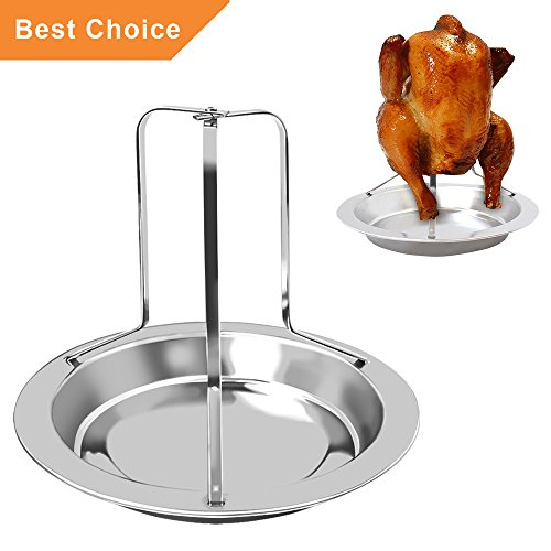 KALREDE Chicken Roaster Rack Beer Can - Folding Stainless Steel Vertical Roaster Chicken Holder with Drip Pan for Oven or Barbecue - Grill Accessories (7.68 by 6.5 Inch ) (Stainless Roaster Vertical Steel)