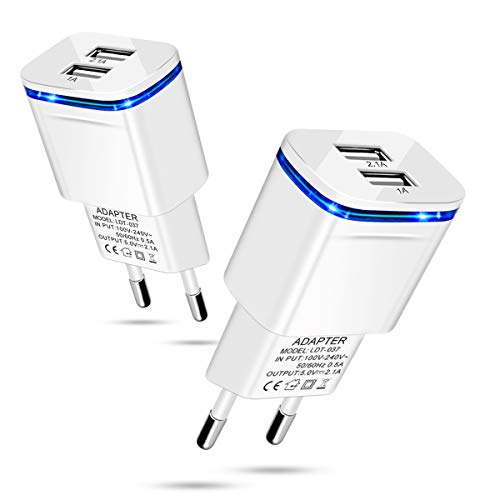 European Plug Adapter 2-Pack 2.1A/5V Europe Travel Dual USB Wall Charger Power Adapter Converter for iPhone X 8 7 6 6S Plus, iPad, Samsung, LG, Moto, HTC, More Cell Phone