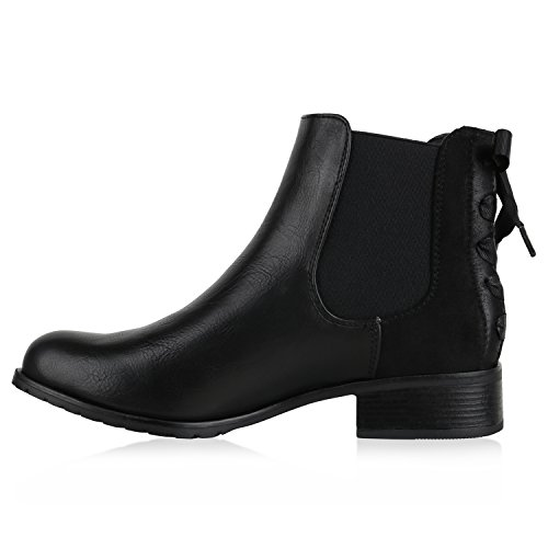 Stiefelparadies Damen Stiefeletten Chelsea Boots Leder-Optik Schuhe Schleifen Flandell Schwarz
