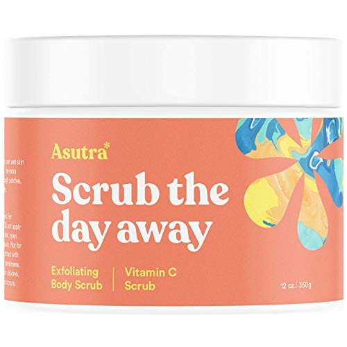 (Asutra, Organic Exfoliating Body Scrub, Vitamin C, 100% Himalayan Sea Salt Scrub, Ultra Hydrating and Moisturizing Scrub, Skin Smoothing Jojoba, Sweet Almond, and Argan Oils, 12 oz.)