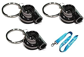 3-Pack Black Chrome Gunmetal Spinning Turbo Metal Keychain + Free Lanyard Bonus