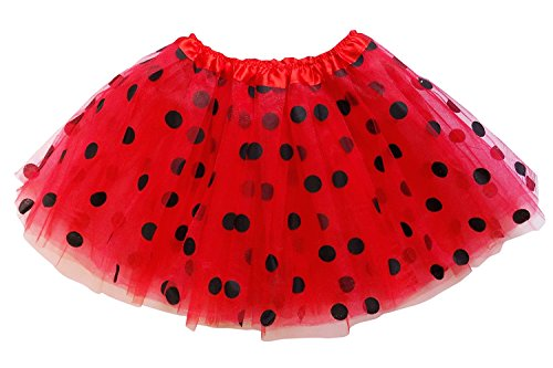 So Sydney Kids, Adult, or Plus Size Polka DOT Tutu Skirt Halloween Costume Dress (L (Adult Size), Red & Black Ladybug)