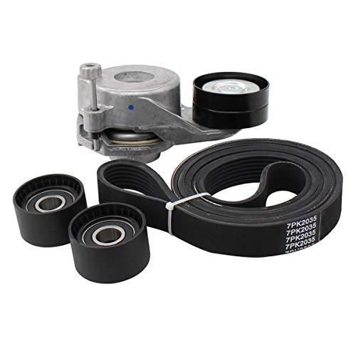 (NewYall Belt Tensioner Assembly & Drive Belt Idler Pulley Roller & Serpentine Belt)