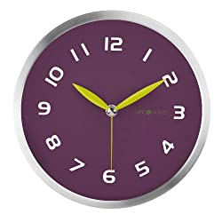 DecoMates Non-Ticking Silent Wall Clock, Early Spring, Purple Plum