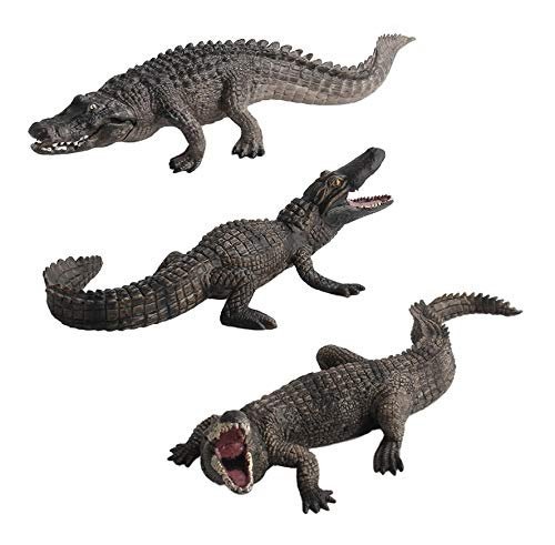 Warmtree Simulated Crocodiles Model Realistic Alligator Plastic Crocodile Figurines Action Figure for Kids' Collection Science Educational Toy, Set of 3
