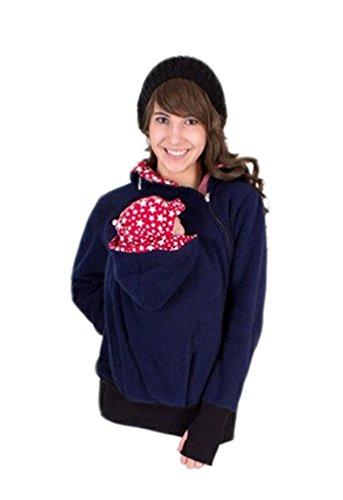 Engerla Maternidad con capucha de las mujeres con capucha para Carrier Babywearing Azul