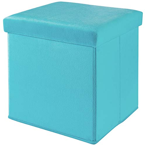 Mainstay Collapsible Storage Ottoman, Plush Aqua