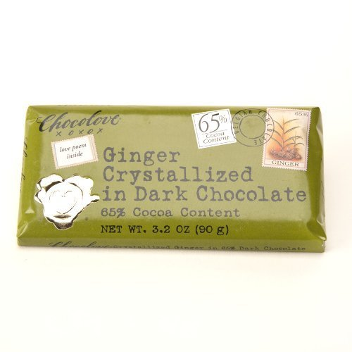 Xoxo Dark Chocolate Bar Crystallized Ginger by Chocolove - Chocolove Chocolate Crystallized Ginger