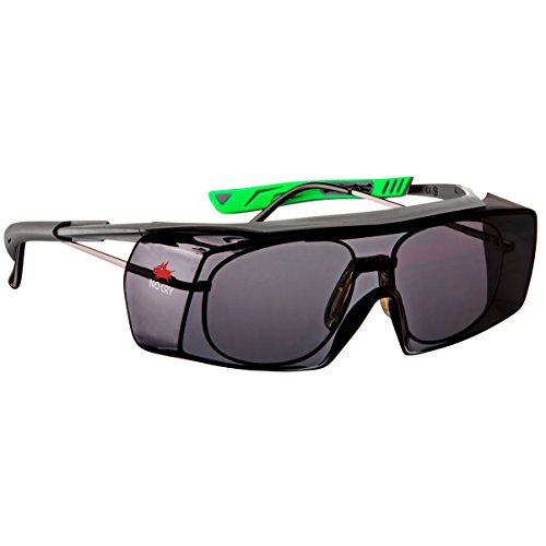 NoCry Tinted Over-Spec Safety Glasses - with Anti-Scratch Wraparound Lenses, Adjustable Arms, and UV400 Protection, Grey & Green Frames. ANSI Z87.1 & OSHA Certified (Arms Mens Sunglasses)