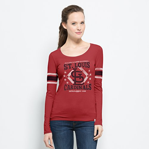 '47 Women's MLB St. Louis Cardinals Vintage Print Long Sleeve Scoop Tee - Sleeve Long Louis Cardinals