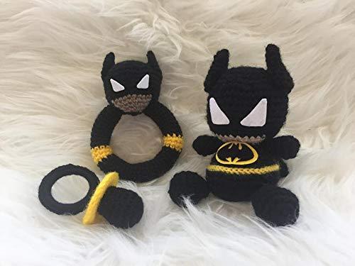 Multi Amazings Batman Doll, Pacifier and Rattle Needlework - DC Inspired Crochet, Amigurumi Style (Baby Batman Rattle)