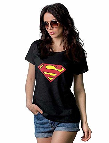 Womens Superman Black T-shirt - L or XL
