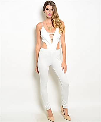 Clothes all white bodycon jumpsuit pants for women the yard