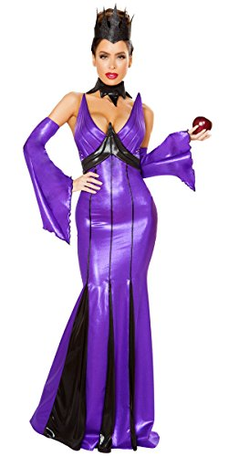 Musotica Sexy Fairytale Wicked Queen Latex Maxi Dress Halloween Costume - Black/Gunmetal - (Sexy Evil Fairy Costumes)