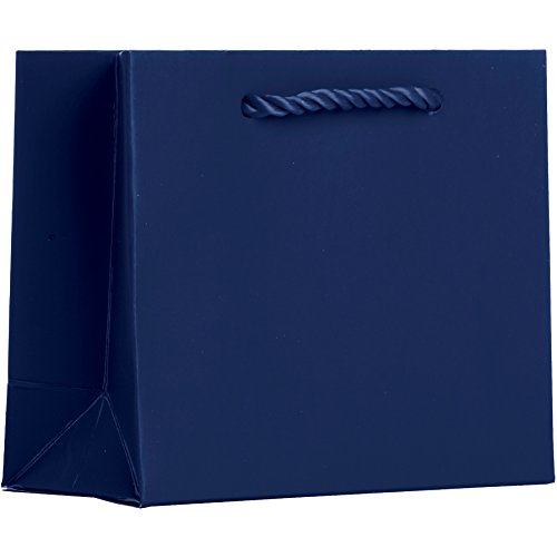 Jillson Roberts BTT926.1 Bulk 120-Count Tiny Tote 5'' x 4'' x 2'' Matte-Finish Gift Bags Available in 13 Colors, Navy Blue by Jillson Roberts