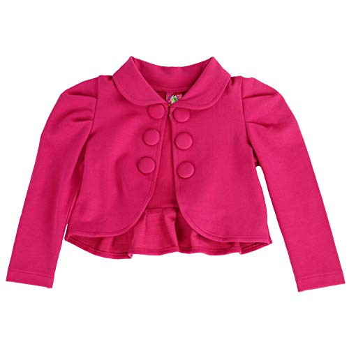 (Toddlers and Girls French Terry Knit Ladonna Classic Bolero Crop-Jacket in Hot Pink 7/8)