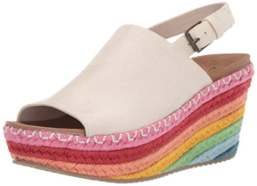 Skechers Women's BRIT-Rainbow Jute High-Wedge Sling Back Slide Sandal, Natural, 11 M US