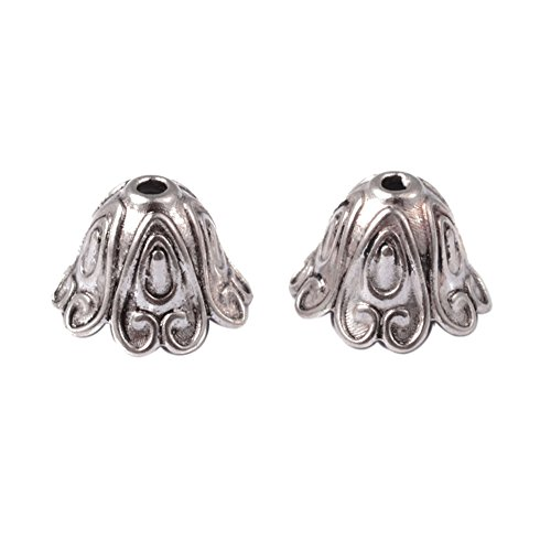 Pandahall 20pcs Tibetan Style Floral Bead Caps Tassel End Cap Lead Free Cadmium Free Antique Silver Jewelry Making 15x11mm Hole: (Silver Finish Bead Cap)
