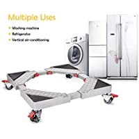 Adjustable Telescopic Furniture Dolly Roller Movable Base Mobile Washing Machine Dolly for Refrigerator Dryer Washer Cabinet, with 4 Locking Rubber Swivel Wheels