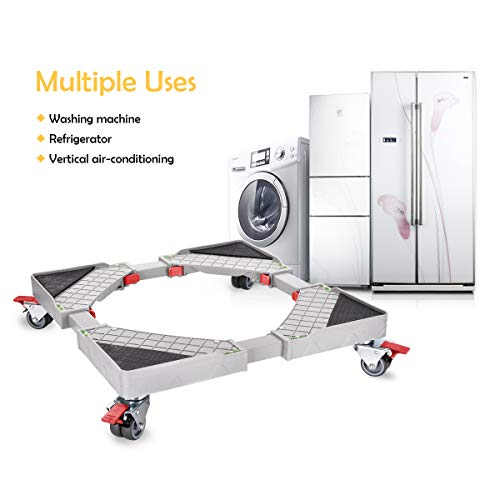 - Adjustable Telescopic Furniture Dolly Roller Movable Base Mobile Washing Machine Dolly for Refrigerator Dryer Washer Cabinet, with 4 Locking Rubber Swivel Wheels