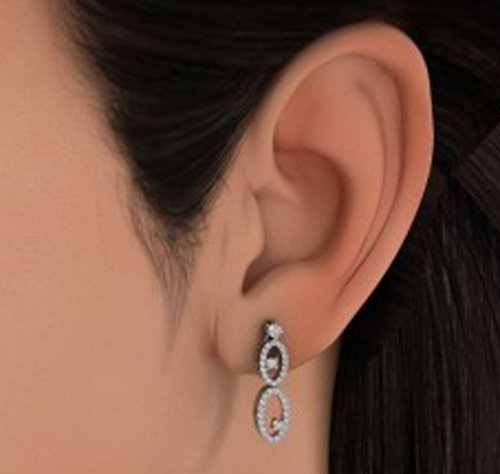 Or blanc 18K 0.692CT TW Round-cut-diamond (IJ   SI) Pendants d'oreilles