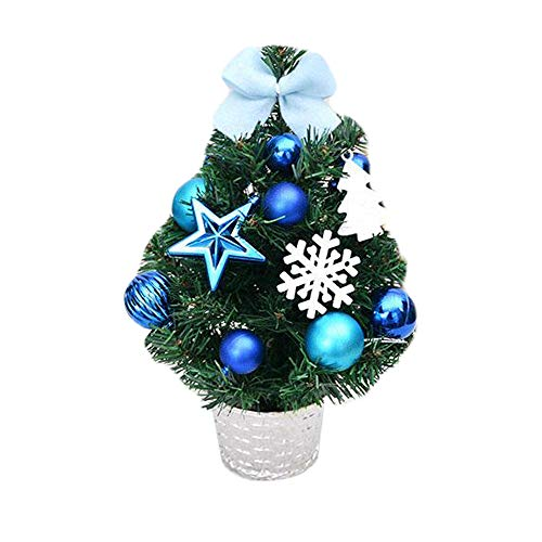 baskuwish Ornaments-Artificial Tabletop Mini Christmas Tree Bow-Knot Decorations Festival Miniature Tree (Blue)