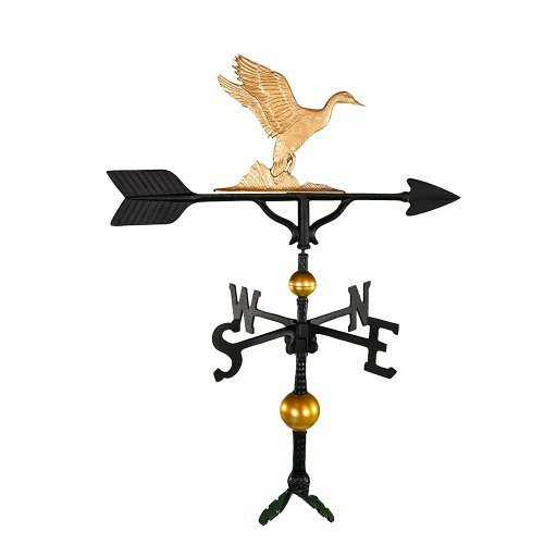 Gold Enamel Duck (Montague Metal Products 32-Inch Deluxe Weathervane with Gold Duck Ornament)