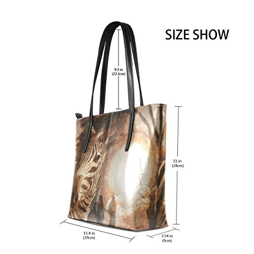 Shoulder Bennigiry Tote Zebra Women Handbag Printing African Savanna Pu Leather for HqwqYF0Srx