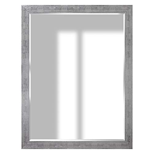 Everly Hart Collection Textured Framed Wall Mounted or Leaner Mirror, 36