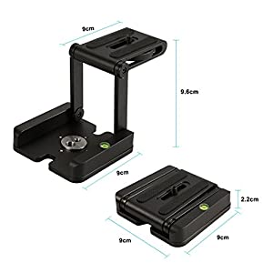 Yosoo Aluminum Alloy Folding Z Flex Tilt Head Camera Bracket Quick Release Plate Tripod Ball Head with Spirit Level For Canon Nikon Sony Camera Camcorder Tripod