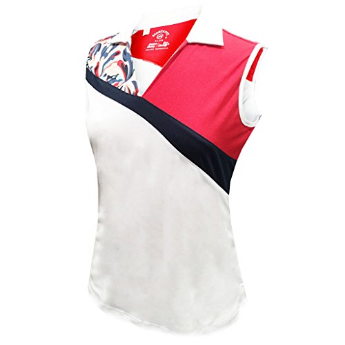 (Monterey Club Ladies Dry Swing Water Fountain Contrast Coloblock Sleeveless Shirt #2345 (White/Red, Small))