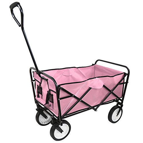 Collapsible Outdoor Utility Wagon, Heavy Duty Folding Garden Portable Hand Cart, with Drink Holder, Suit for Shopping and Park Picnic, Beach Trip and Camping - Wagon Delivery