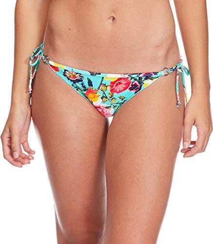 Body Glove Women's Brasilia Tie Side Cheeky Bikini Bottom Swimsuit, Bitola sea Mist Floral, - Floral Tie Nylon