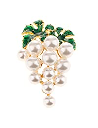 Homyl Elegant Artificial Pearl White Grape Green Leaf Fruit Brooch Pin for Women Jewelry
