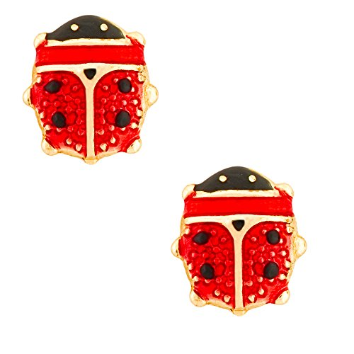 14K Yellow Gold Enameled Lady Bug Stud Kids Earrings With Safety Screw Backs (5.3 X 5.9 -