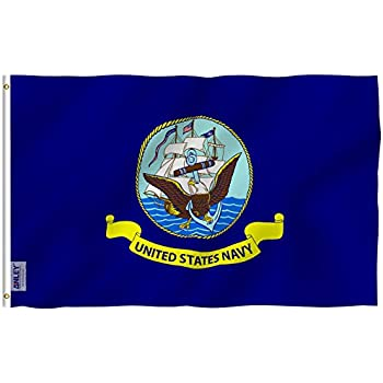 Anley Fly Breeze 3x5 Foot US Navy Flag - Vivid Color and UV Fade Resistant  - Canvas Header and Double Stitched - United States Naval Military  Polyester ... 42c1c0727a2