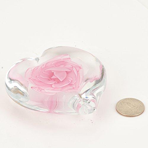 - M Design Art Handcraft Glass Art Pink Rose Heart Art Handmade Glass Paperweight