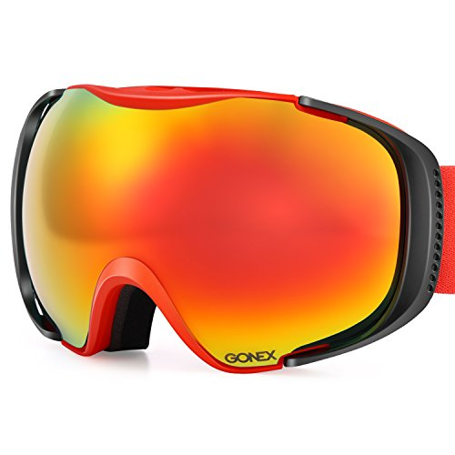Gonex Polarized Snow Goggles Anti-Fog Anti-Glare Ski Goggle UV400 Protection with Oversized Double Spherical Lens for Winter Sports+ Goggle Case Red Frame Red Lens