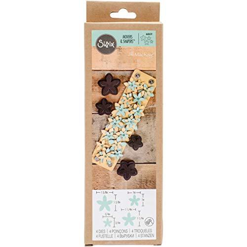 Sizzix 660659 Movers and Shapers Magnetic Die Set, Star Jasmine by Jill MacKay (4-Pack) ()