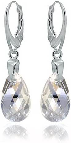 Sterling Silver 925 Drop and Dangle Moonlight Leverback Earrings Dazzling with Swarovski Crystals