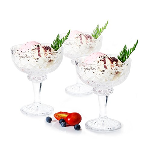 - Missviya Ice cream Dessert bowls footed crtsyal set of 6 trifle / fruit/salad cocktail glass 6.66oz clear