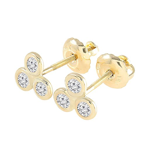 BallucciToosi Diamond Stud Earrings-0.12 tcw Round Cut - Solid 14 karat Real Gold Screw Back-14 or 18 k Yellow Rose and White Gold - Nice Jewelry Gift For Your Love
