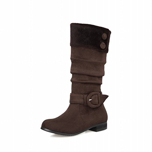Carolbar Womens Buckle Pleated Fashion Horse Hair Buttons Low Heel Short Boots Brown Z57Tv