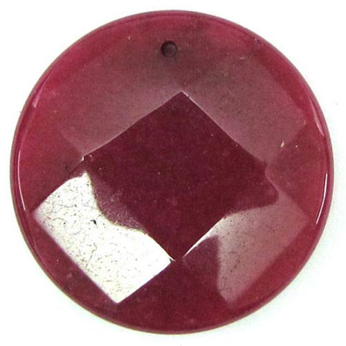 - 40mm Faceted Ruby red Jade Coin Bead Pendant