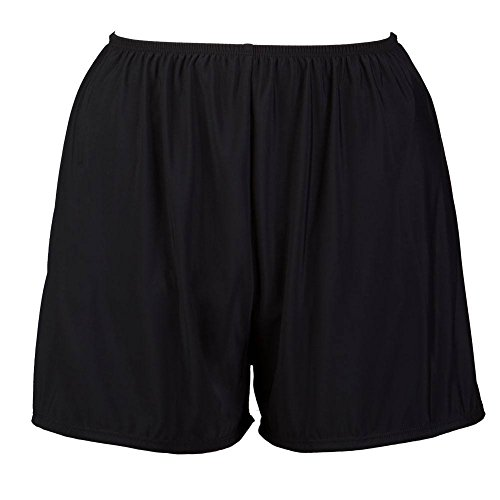 Topanga Women's Plus Size Swim Shorts with Built in Panty-Black-20