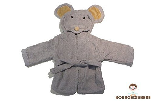 BourgeoisBebe Mouse Hooded Woven Organic Terry Cotton Baby Towel - Luxuriously Soft - Designer Quality by BourgeoisBebe   B01J70GU3O