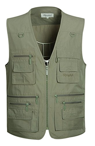 Gihuo Men's Summer Cotton Leisure Outdoor Pockets Fish Photo Journalist Vest Plus Size (Medium, Army Green) by Gihuo