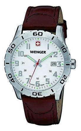 Wenger Herren-Armbanduhr XL Grenadier Analog Quarz Leder 01.0741.101