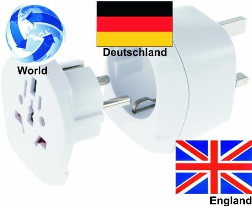 Adaptador de viaje de-adaptador de Inglaterra grande gran Bretaña + Alemania (conjunto de 2, adaptador para enchufe GB): Amazon.es: Bricolaje y herramientas